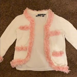 Pink and off white cardigan set with ruffles